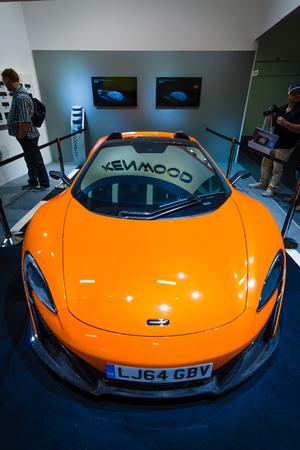 supercar: BERLIN - SEPTEMBER 04, 2015: Supercar McLaren 650S Spider. International radio exhibition Berlin (IFA2015).