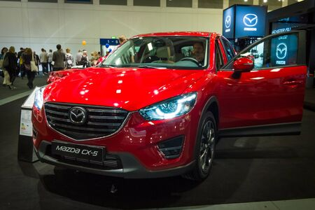 mazda: BERLIN - SEPTEMBER 04, 2015: The crossover Mazda CX-5 AWD. International radio exhibition Berlin (IFA2015).
