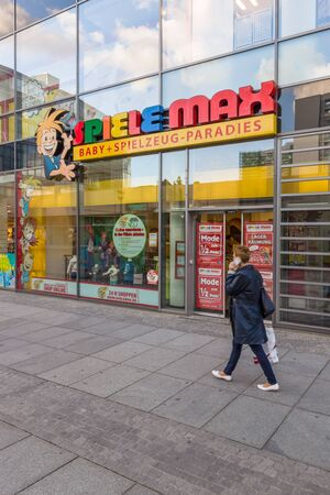 retail chain: DRESDEN, GERMANY - SEPTEMBER 09, 2015: Chain of toy stores Spiele Max. Spiele Max - owned by Polish retail chain SMYK Sp. z o.o. Editorial