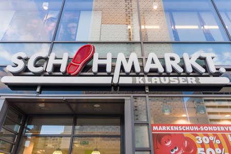retail chain: DRESDEN, GERMANY - SEPTEMBER 09, 2015: The popular retail chain of footwear stores Schuhmarkt Klauser. Schuhhaus Klauser, is one of the largest owner-operated shoe retailers in Germany. Editorial