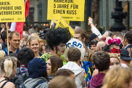 transsexual: BERLIN, GERMANY - JUNE 27, 2015: Christopher Street Day (CSD). The annual European LGBT celebration and demonstration held in Berlin for the rights of LGBT people, and against discrimination and exclusion.