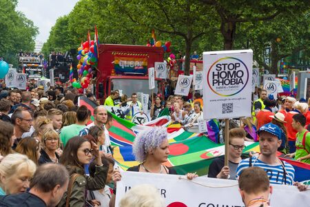 BERLIN, GERMANY - JUNE 27, 2015: Christopher Street Day (CSD). The annual European LGBT celebration and demonstration held in Berlin for the rights of LGBT people, and against discrimination and exclusion.