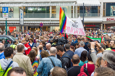 transexual: BERLIN, GERMANY - JUNE 27, 2015: Christopher Street Day (CSD). The annual European LGBT celebration and demonstration held in Berlin for the rights of LGBT people, and against discrimination and exclusion.