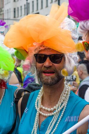 exclusion: BERLIN, GERMANY - JUNE 27, 2015: Christopher Street Day (CSD). The annual European LGBT celebration and demonstration held in Berlin for the rights of LGBT people, and against discrimination and exclusion.