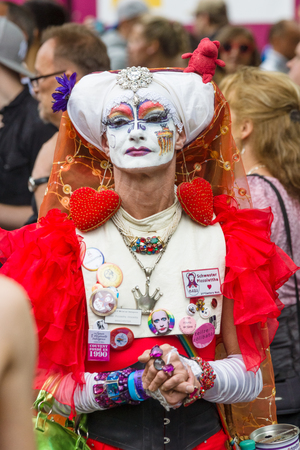 transsexual: BERLIN, GERMANY - JUNE 27, 2015: Christopher Street Day. The annual European LGBT celebration and demonstration held in Berlin for the rights of LGBT people, and against discrimination and exclusion. Editorial