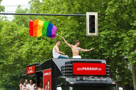 parship: BERLIN, GERMANY - JUNE 27, 2015: Christopher Street Day. The annual European LGBT celebration and demonstration held in Berlin for the rights of LGBT people, and against discrimination and exclusion. Editorial