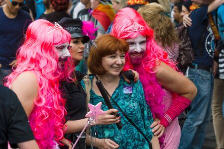 exclusion: BERLIN, GERMANY - JUNE 27, 2015: Christopher Street Day. The annual European LGBT celebration and demonstration held in Berlin for the rights of LGBT people, and against discrimination and exclusion. Editorial