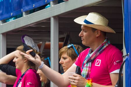 transexual: BERLIN, GERMANY - JUNE 27, 2015: Christopher Street Day. The annual European LGBT celebration and demonstration held in Berlin for the rights of LGBT people, and against discrimination and exclusion. Editorial
