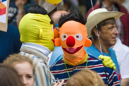 sesame street: BERLIN, GERMANY - JUNE 27, 2015: Christopher Street Day. The annual European LGBT celebration and demonstration held in Berlin for the rights of LGBT people, and against discrimination and exclusion. Editorial