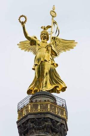 winning location: BERLIN, GERMANY - JUNE 14, 2015: Goldelse (Golden Lizzy). Fragment of Berlin Victory Column, close-up.