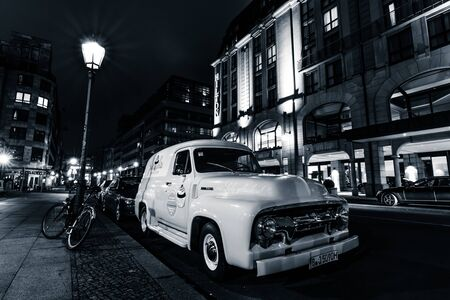 panel van: BERLIN, GERMANY - OCTOBER 13, 2015: Full-size pickup truck Ford F100 Panel Van, 1953 (second generation) on the night street. Black and white. Ford F-Series - is a popular American pickup. Editorial