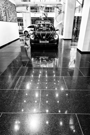 fender: BERLIN - AUGUST 31, 2012: Showroom. Volkswagen Beetle Fender Edition. Black and white. Produced since 2012.
