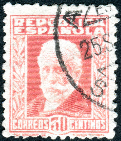 socialist: SPAIN - CIRCA 1931: Postage stamp printed in Spain, show a portrait of Pablo Iglesias, founder of the Socialist Party of Spain, circa 1931