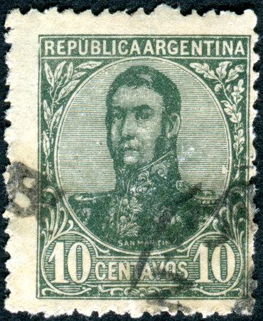 jose de san martin: ARGENTINA - CIRCA 1909: A stamp printed in the Argentina, shows a national hero, Jose de San Martin, circa 1909 Editorial