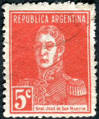jose de san martin: ARGENTINA - CIRCA 1933: A stamp printed in the Argentina, shows a national hero, Jose de San Martin, circa 1933