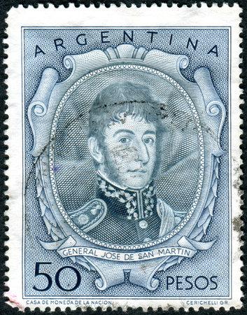 jose de san martin: ARGENTINA - CIRCA 1955: A stamp printed in the Argentina, shows a national hero, Jose de San Martin, circa 1955