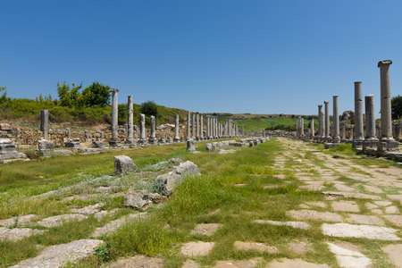 colonnaded: Ancient ruins of Perge. The colonnaded street. Turkey