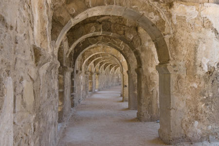 passages: Internal passages in the ancient Roman amphitheater of Aspendos. The province of Antalya. Mediterranean coast of Turkey.