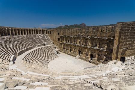 The Roman ancient theater in Aspendos. The province of Antalya. Mediterranean coast of Turkey. Standard-Bild