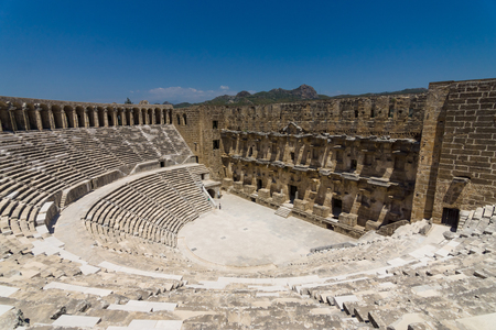 The Roman ancient theater in Aspendos. The province of Antalya. Mediterranean coast of Turkey. Stock Photo