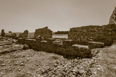 stylization: Ancient ruins of Aspendos. Turkey. Stylization. Sepia.