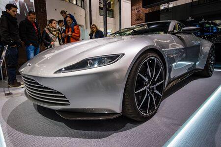 spectre: BERLIN - OCTOBER 26, 2015: Grand tourer Aston Martin DB10. The exhibition in the trading house KaDeWe as part of a promotional tour of the new film about James Bond Spectre Editorial
