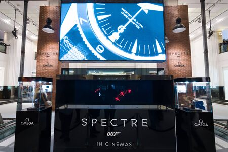 spectre: BERLIN - OCTOBER 26, 2015: The exhibition in the trading house KaDeWe as part of a promotional tour of the new film about James Bond Spectre