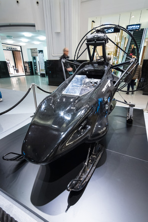 spectre: BERLIN - OCTOBER 26, 2015: A Snowmobile from The World Is Not Enough. The exhibition in the trading house KaDeWe as part of a promotional tour of the new film about James Bond Spectre Editorial