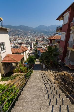 alanya: Roofs of houses in the center of Alanya. Turkey. Stock Photo