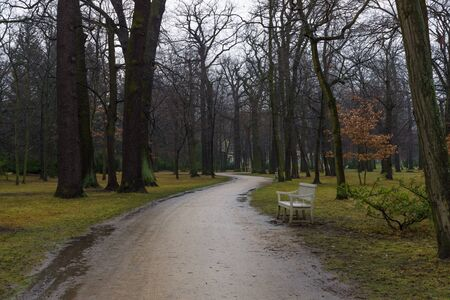 dank: Park alley Charlottenburg Palace in rainy weather. Stock Photo