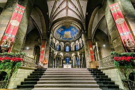 the church of our lady: MAASTRICHT, NETHERLANDS - JANUARY 13, 2016: Interior of Basilica of Our Lady of the Assumption. The oldest church of the Netherlands. Construction started shortly after 1000 AD. Toning, HDR. Editorial