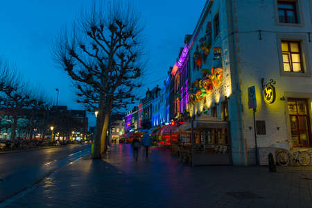 limburg: MAASTRICHT, NETHERLANDS - JANUARY 13, 2016: Evening Maastricht. The historic center, Vrijthof. Maastricht is the oldest city of the Netherlands and the capital city of the province of Limburg. Editorial