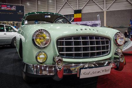 bodywork: MAASTRICHT, NETHERLANDS - JANUARY 14, 2016: Sports car Ford Comete, 1953. Bodywork was built by FACEL. International Exhibition InterClassics & Topmobiel 2016