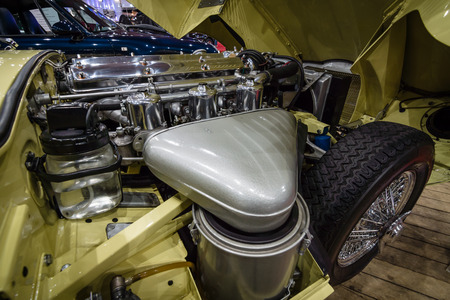 coupe: MAASTRICHT, NETHERLANDS - JANUARY 14, 2016: Engine compartment Jaguar E-Type Series 1 coupe, 1963. International Exhibition InterClassics & Topmobiel 2016
