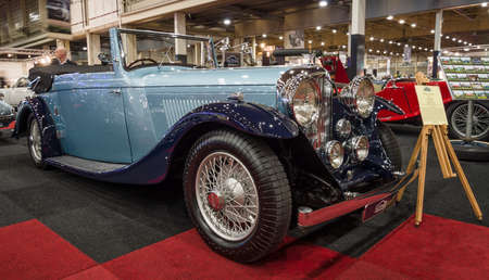 litre: MAASTRICHT, NETHERLANDS - JANUARY 14, 2016: Retro car Bentley 4 14 Litre, 1937. International Exhibition InterClassics & Topmobiel 2016