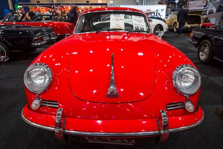 coupe: MAASTRICHT, NETHERLANDS - JANUARY 14, 2016: Sports car Porsche 356 Coupe, 1964. International Exhibition InterClassics & Topmobiel 2016