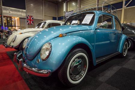 cultic: MAASTRICHT, NETHERLANDS - JANUARY 14, 2016: Subcompact Volkswagen Beetle, 1971. International Exhibition InterClassics & Topmobiel 2016