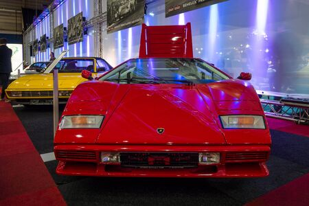 lamborghini: MAASTRICHT, NETHERLANDS - JANUARY 14, 2016: Sports car Lamborghini Countach LP500S, 1984. International Exhibition InterClassics & Topmobiel 2016