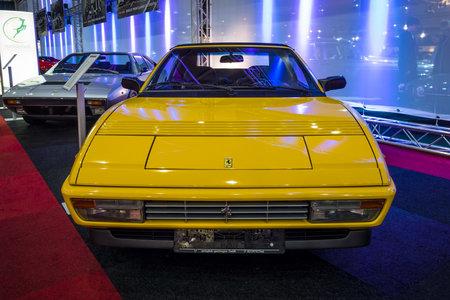 mondial: MAASTRICHT, NETHERLANDS - JANUARY 14, 2016: Mid-engined sports car Ferrari Mondial T Cabriolet 3.4, 1994. International Exhibition InterClassics & Topmobiel 2016
