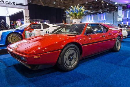 antique car: MAASTRICHT, NETHERLANDS - JANUARY 14, 2016: Sports car BMW M1, 1979. International Exhibition InterClassics & Topmobiel 2016 Editorial