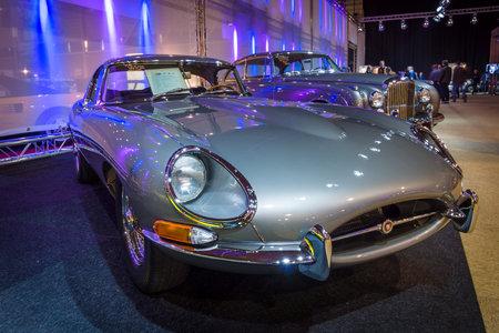 MAASTRICHT, NETHERLANDS - JANUARY 14, 2016: Sports car Jaguar E-Type Series I. International Exhibition InterClassics & Topmobiel 2016 Editorial
