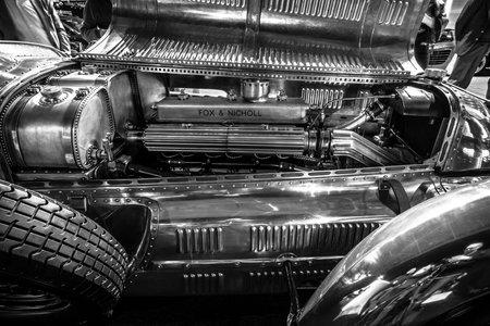 4 5: MAASTRICHT, NETHERLANDS - JANUARY 14, 2016: Engine of racing car Lagonda 4,5 Litre Fox & Nicholl, 1938. Black and white.  International Exhibition InterClassics & Topmobiel 2016