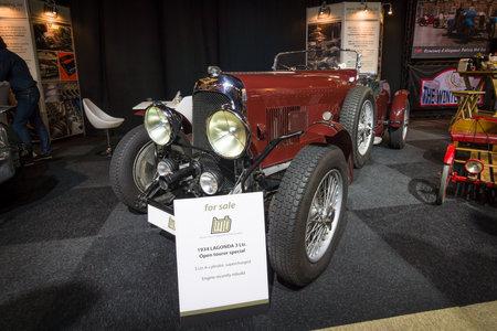 litre: MAASTRICHT, NETHERLANDS - JANUARY 14, 2016: Vintage car Lagonda 3 Litre Open Tourer Special, 1934. International Exhibition InterClassics & Topmobiel 2016 Editorial