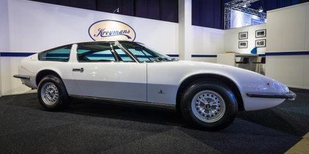 indy cars: MAASTRICHT, NETHERLANDS - JANUARY 14, 2016: Sports car Maserati Indy (Tipo AM 116). Giovanni Michelotti at Vignale-designed body. International Exhibition InterClassics & Topmobiel 2016