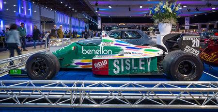 formula one: MAASTRICHT, NETHERLANDS - JANUARY 14, 2016: Formula One car Benetton B186, engine BMW M12  13, 1986. International Exhibition InterClassics & Topmobiel 2016