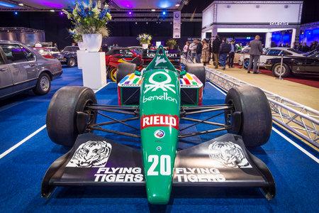formula one car: MAASTRICHT, NETHERLANDS - JANUARY 14, 2016: Formula One car Benetton B186, engine BMW M12  13, 1986. International Exhibition InterClassics & Topmobiel 2016