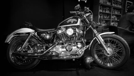 seventy two: MAASTRICHT, NETHERLANDS - JANUARY 14, 2016: Motorbike Harley-Davidson Seventy-Two. Black and white. International Exhibition InterClassics & Topmobiel 2016