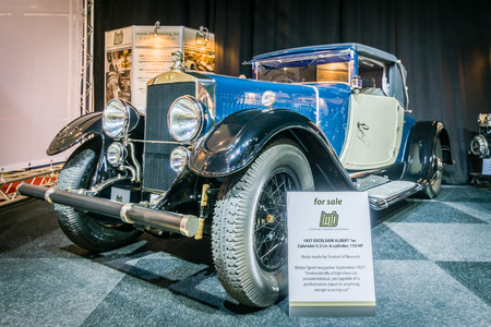 excelsior: MAASTRICHT, NETHERLANDS - JANUARY 14, 2016: Vintage car Excelsior Albert 1, Cabriolet, 1927. International Exhibition InterClassics & Topmobiel 2016