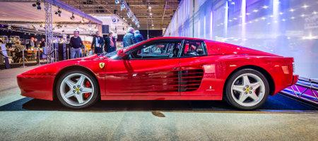 tr: MAASTRICHT, NETHERLANDS - JANUARY 14, 2016: Sports car Ferrari Testarossa (512 TR), 1993. International Exhibition InterClassics & Topmobiel 2016