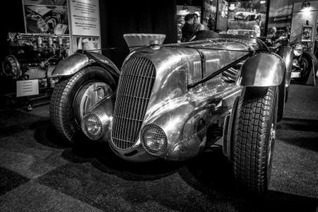 litre: MAASTRICHT, NETHERLANDS - JANUARY 14, 2016: Racing car Lagonda 4,5 Litre Fox & Nicholl, 1938. Black and white. International Exhibition InterClassics & Topmobiel 2016 Editorial